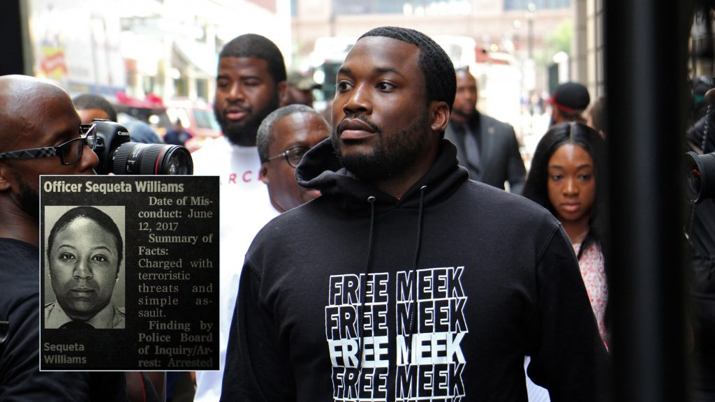 Meek Mill arrives for a court hearing in 2018 (Inset: Screenshot from 'Free Meek' documentary on Amazon)