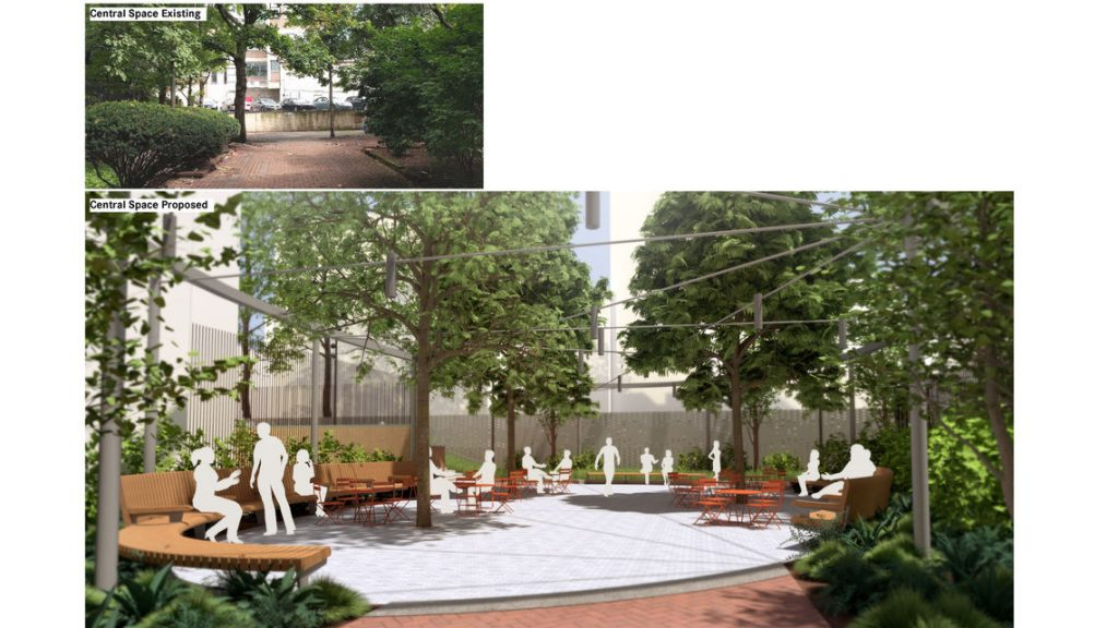 A rendering shows the re-imagined walkway near 3rd and Market streets known as Commerce Street