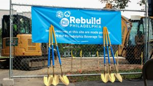 Shovels outside Diston Recreation Center in Tacony in September 2019