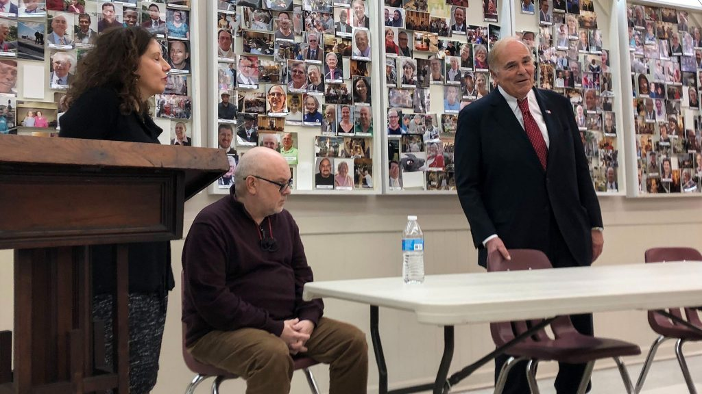 Former PA governor Ed Rendell (right) commits to being a volunteer escort alongside Safehouse leaders Jose Benitez and Ronda Goldfein