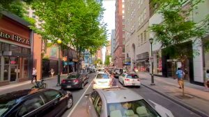 Pedestrians weaving in and out of traffic is a common sight on Chestnut Street in Center City