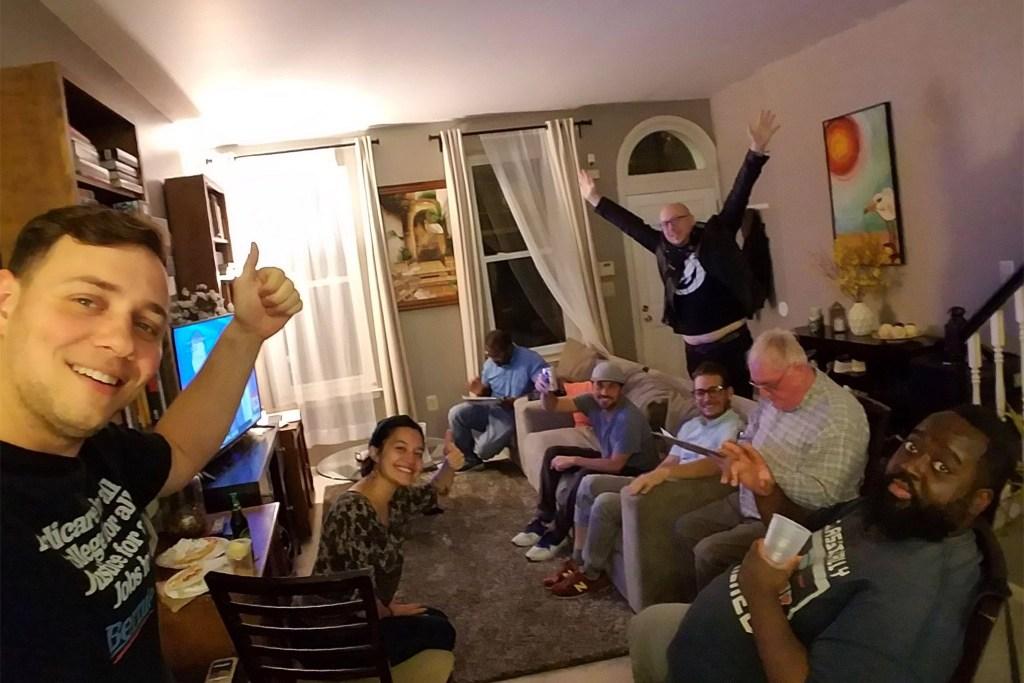 Daniel Laufer at a Bernie Sanders delegate debate watch party in January