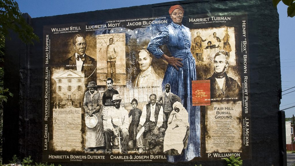 A mural on Germantown Avenue celebrates Harriett Tubman and other heroes of the Underground Railroad