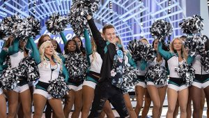 Kyle Tanguay and his Eagles cheer squad on the American Idol audition set