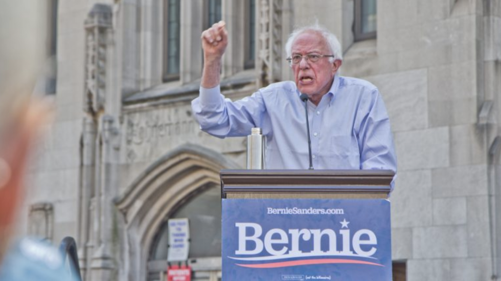 Democratic presidential candidate Bernie Sanders at a rally to save Hahnemann Hospital last year.
