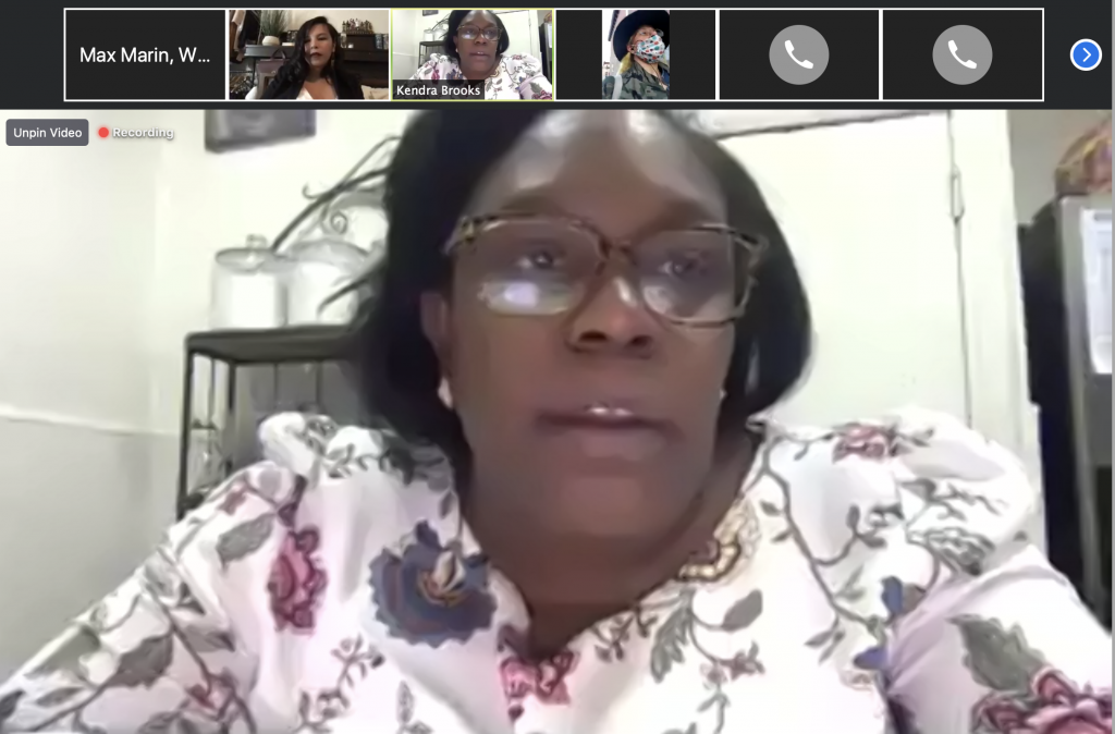 Councilmember Kendra Brooks spoke at the low-wage workers' virtual town hall.