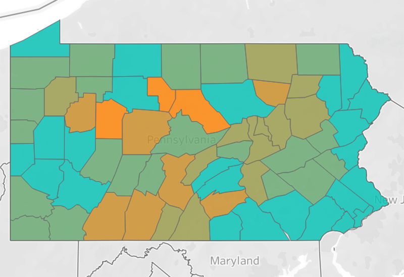 The 'Social Distancing Scoreboard' for Pennsylvania