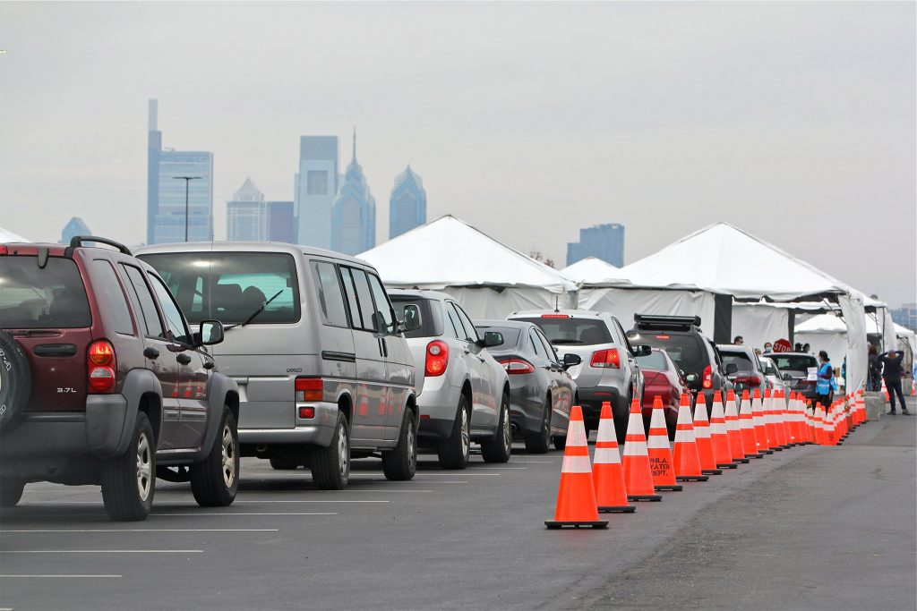 The line to get into the city-run test site at the South Philly sports complex on Mar. 20