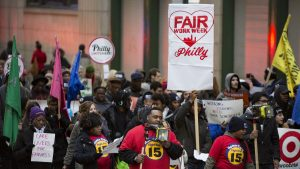 Fast food and retail workers rally for a 'fair workweek' in 2018