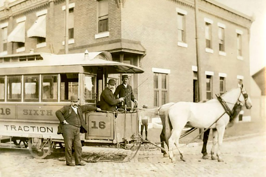 A horse-drawn streetcar shown at 6th and Jackson Street in 1894