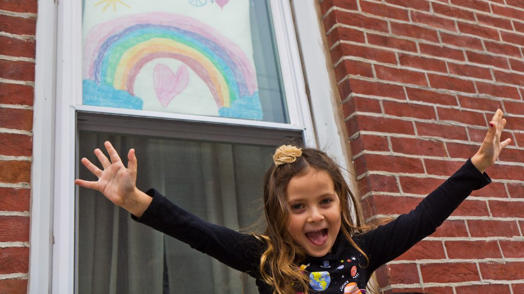 Bowie Moon Porter drew this rainbow for other kids on the rainbow hunt through Philadelphia's Fishtown neighborhood