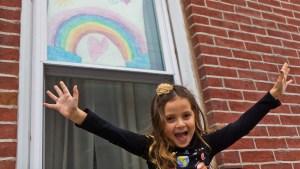 Bowie Moon Porter drew this rainbow for other kids on the rainbow hunt through Philadelphia's Fishtown neighborhood