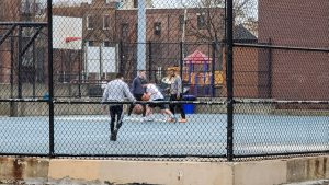 People playing group basketball games during March, when the coronavirus lockdown was in effect