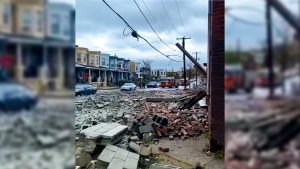 The scene outside a partial building collapse in Strawberry Mansion on Monday