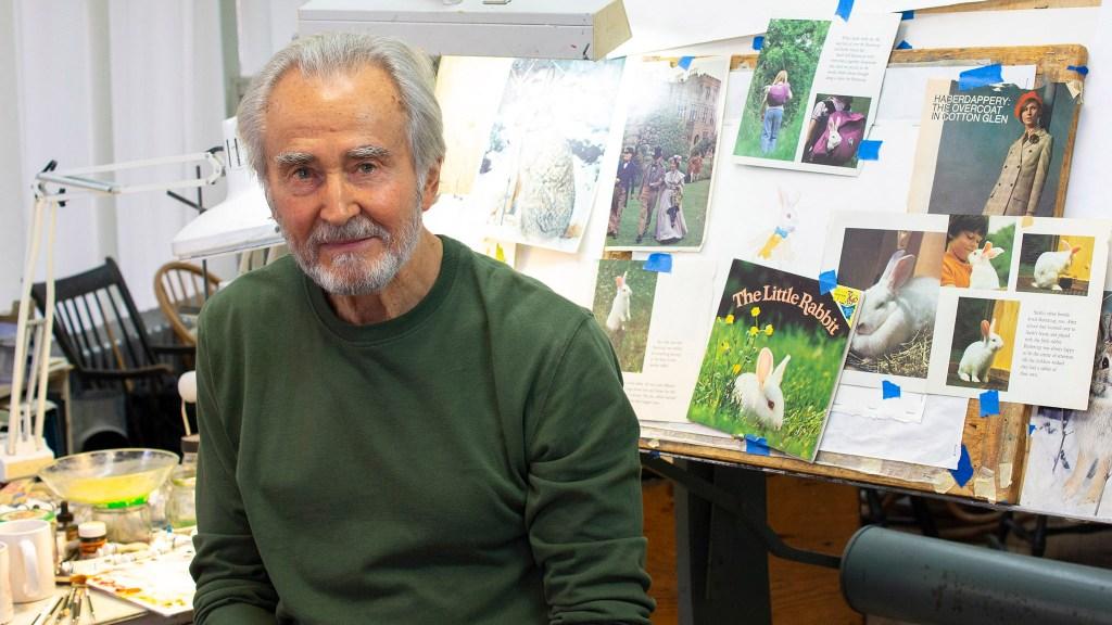 Illustrator Charles Santore in his Philadelphia studio in 2015