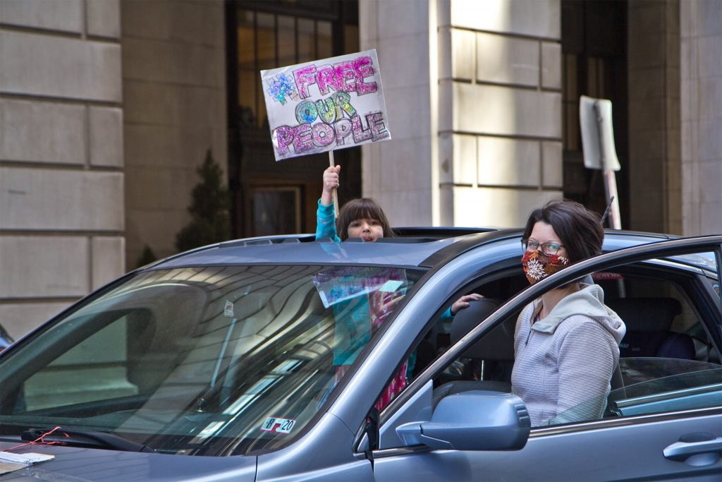 Protesters parked their cars around the Criminal Justice Center in Philadelphia in mid-April to demand prisoners be released for their safety during the coronavirus pandemic