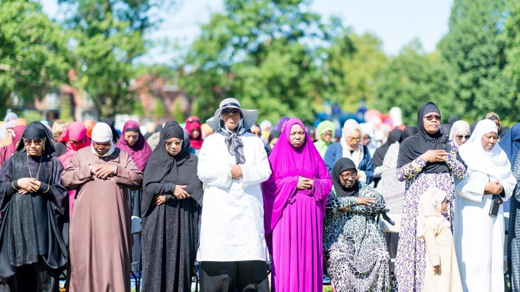 Muslim sisters offering the congregational prayer at the Philly Eid in the Park Festival
