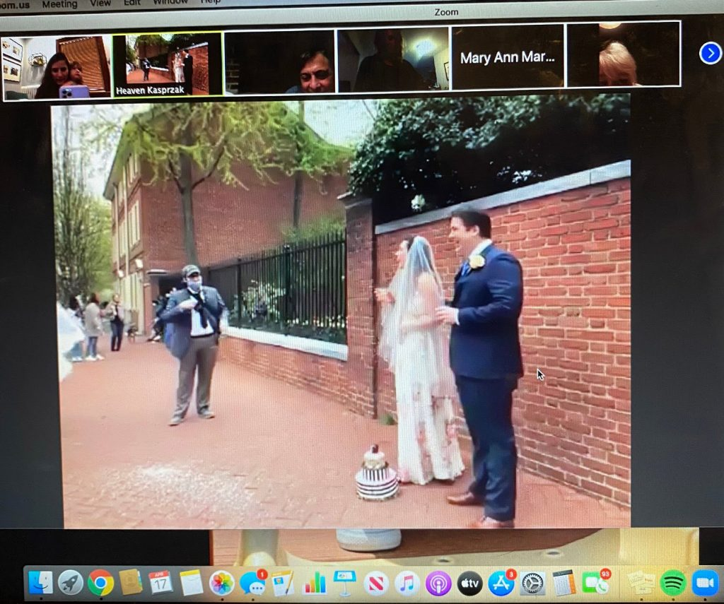 More than 500 people 'attended' the wedding remotely on Zoom