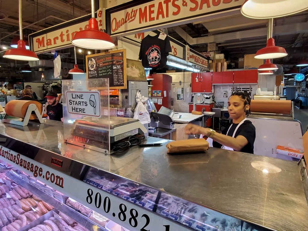 Sausages of all kinds, plus cuts of meat, still slinging at Martin's