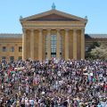 Thousands gathered near the Art Museum steps during a protest against police brutality
