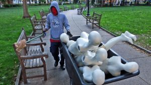 A contractor who cleans up Rittenhouse Square every morning found mannequins strewn about