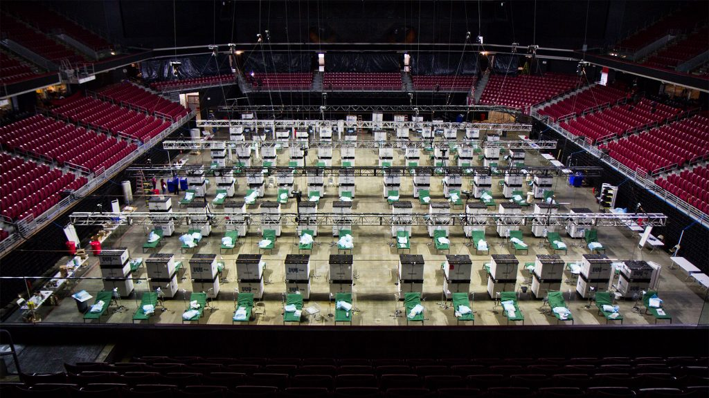 Temple University's Liacouras Center was transformed into an overflow hospital to deal with a potential COVID-19 surge