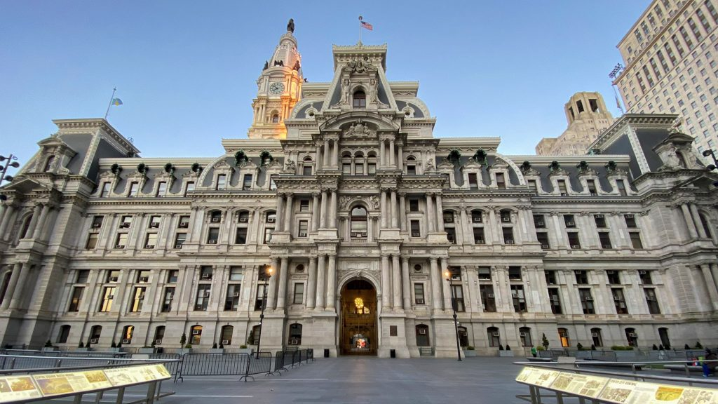 Philadelphia City Hall is desolate during the coronavirus lockdown