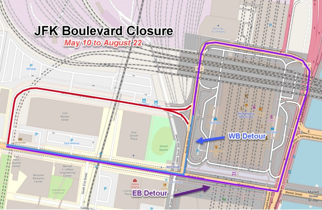 A graphic showing supposed road closures where the Megabus stop is