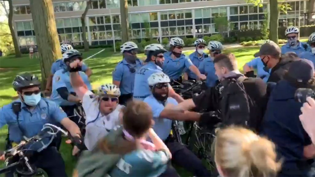 Philly police officers clash with protesters. The man identified as Staff Inspector Bologna is at center in a white shirt.