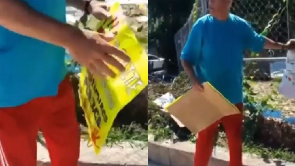 Stills from the video showing the courts supervisor ripping down signs