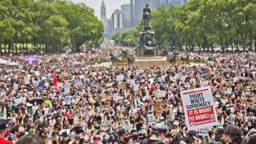 On the 7th straight day of protests in Philadelphia, demonstrators called for an end to police brutality on the steps of the Art Museum. (Kimberly Paynter/WHYY)
