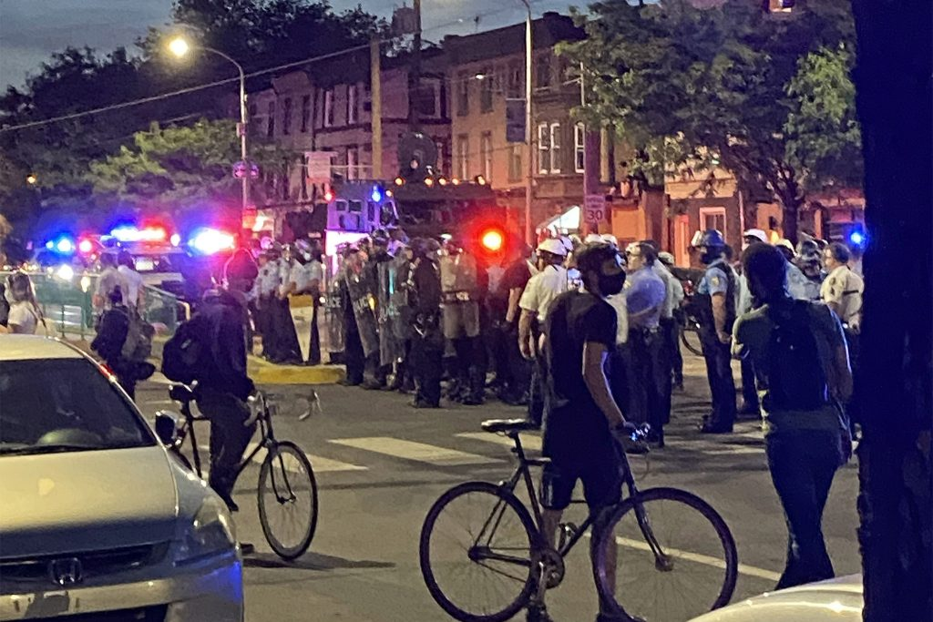 Police divide two groups facing off in Fishtown on June 1