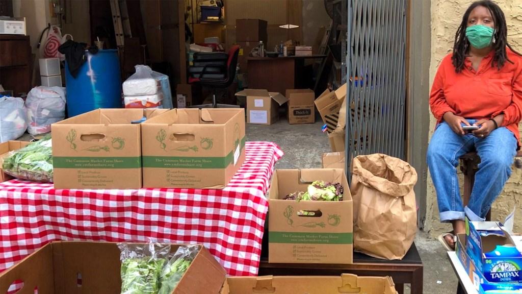 Groceries outside the Germantown Mutual Aid Hub