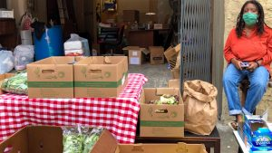 Groceries outside the Germantown Mutual Aid Hub