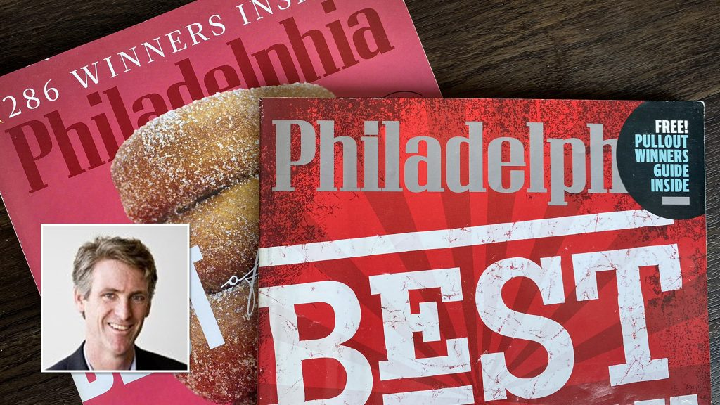 Philadelphia magazine is known for its 'Best of Philly' issues (inset: Tom McGrath)