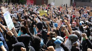 Hundreds of protesters gathered at Philadelphia police headquarters on Monday, June 1