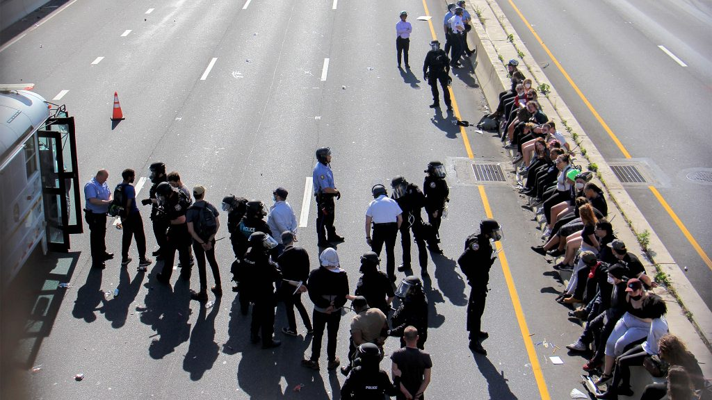Police arrest some of the protesters who'd flooded I-676 during a rally against police brutality