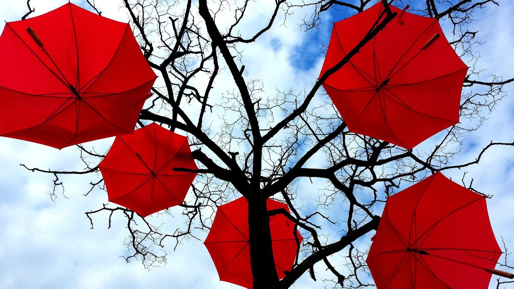 Red umbrellas are a common symbol of solidarity for sex worker rights