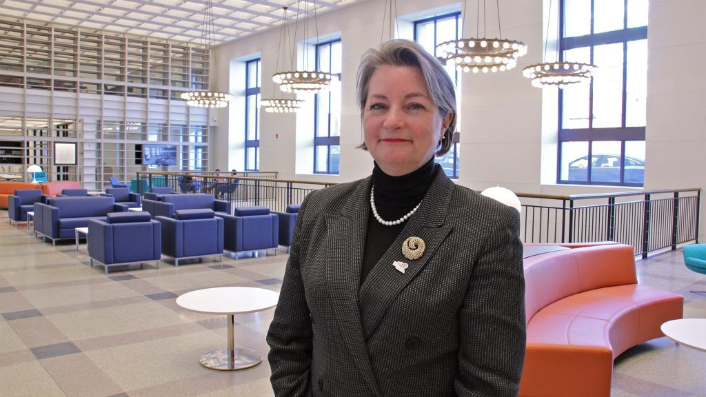 Former President and Director of the Free Library of Philadelphia Siobhan Reardon at the Parkway Central Library in 2019