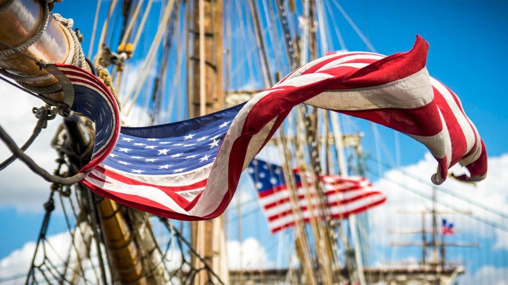 American flag flies at the Philadelphia Tall Ships festival in 2015