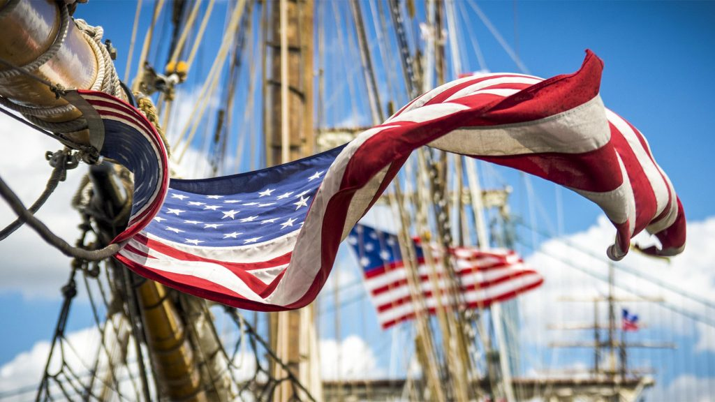 American flag flies at the Philadelphia Tall Ships festival in 2015