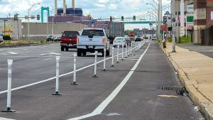 A newly installed protected bike lane on Columbus Boulevard in South Philly