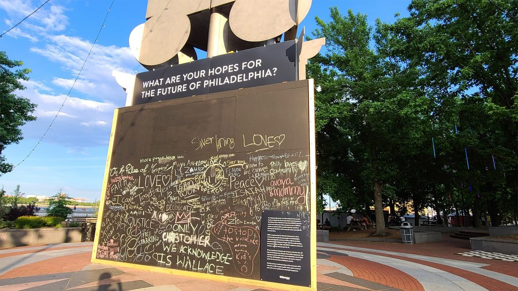 The Columbus monument at Penn's Landing is covered with a board asking for ideas on what to do with it