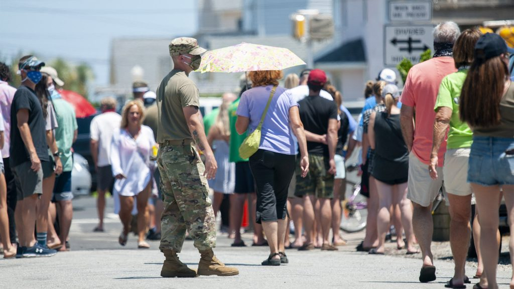 The Del National Guard is helping test people at the state's beaches