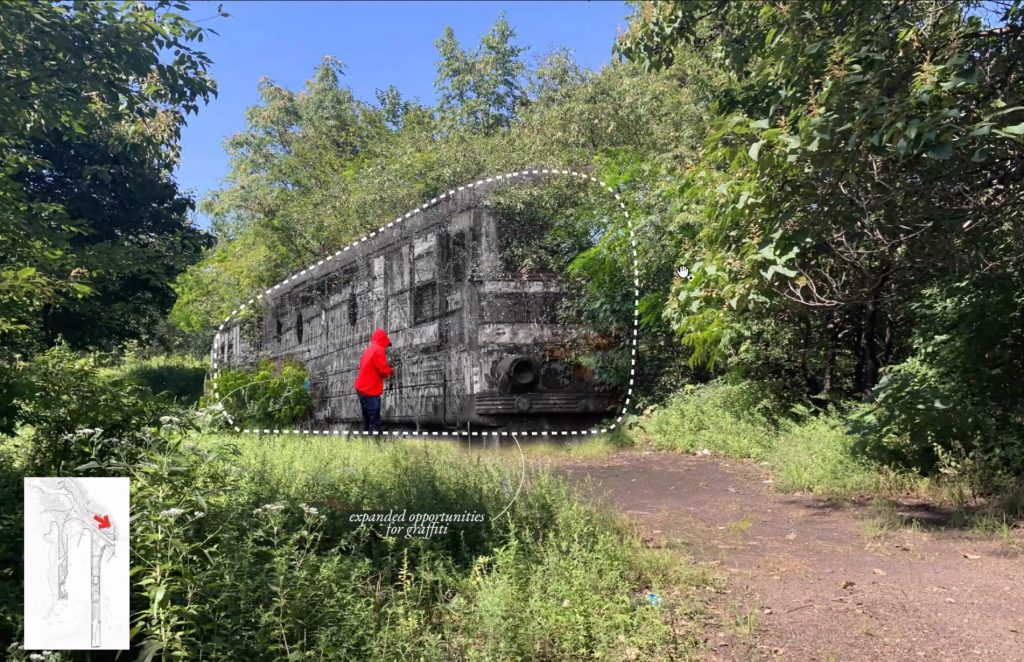 Former train cars will provide extra surfaces for artists to draw