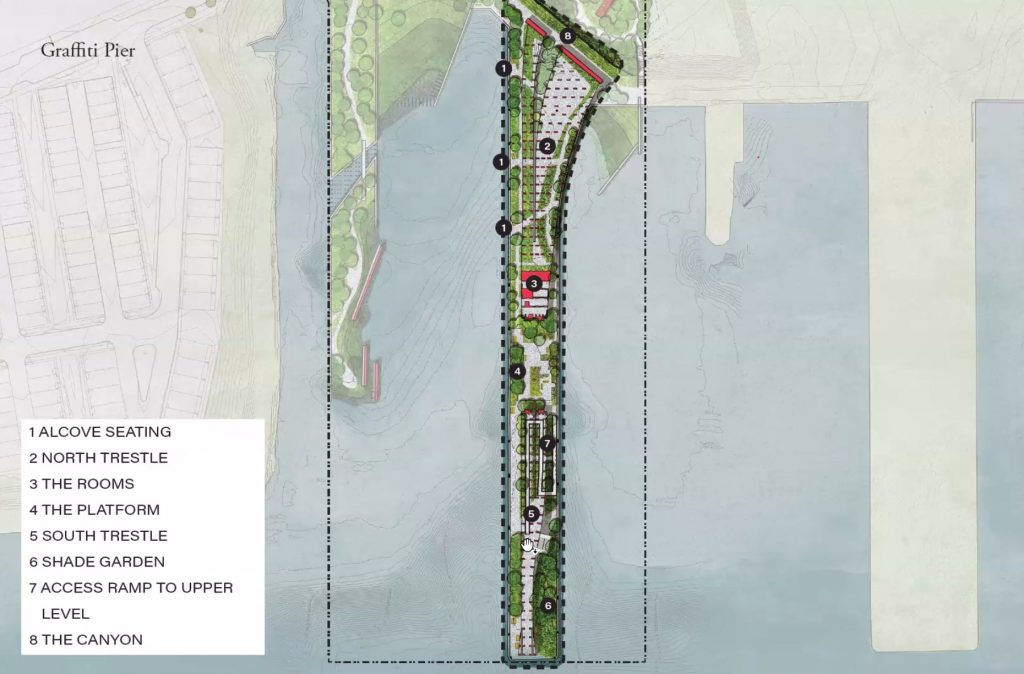 Details of the plan for Graffiti Pier as a park