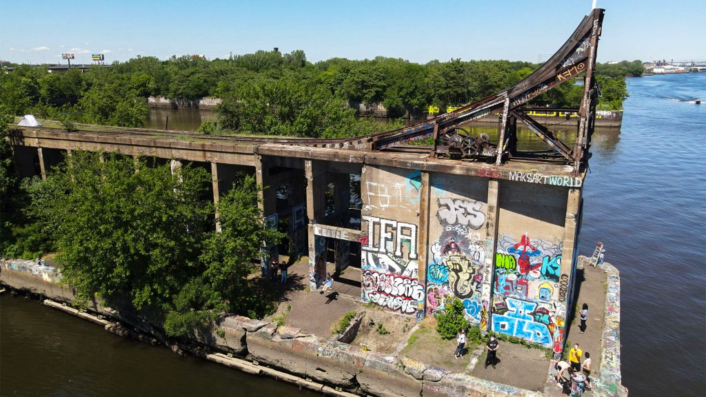 Aerial view of Graffiti Pier, looking northeast