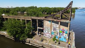Aerial view of Graffiti Pier, looking northeast