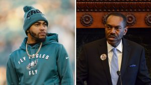 Left: Eagles player DeSean Jackson; Right: Philadelphia NAACP President Rodney Muhammad