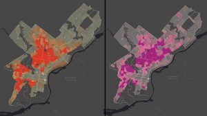 Left: Shootings per 1,000 residents; Right: Percent households living below the federal poverty line